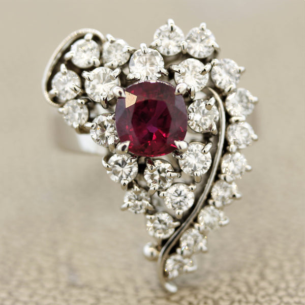 Ruby Diamond Platinum Heart Ring