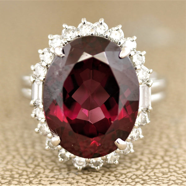 Fine Rhodolite Garnet Diamond Platinum Ring