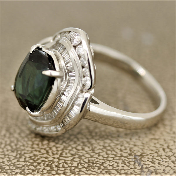 Bluish-Green Tourmaline Diamond Platinum Ring