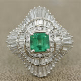 Emerald Diamond Multi-Halo Platinum Cocktail Ring