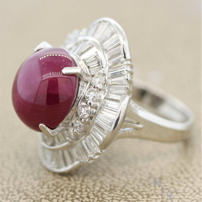 Star Ruby Diamond Cluster Cocktail Ring
