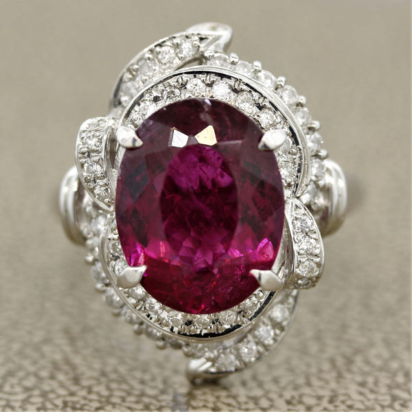 Rubellite Tourmaline Diamond Platinum Ring
