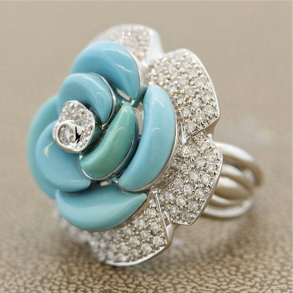 Turquoise Diamond Pave Gold Flower Cocktail Ring