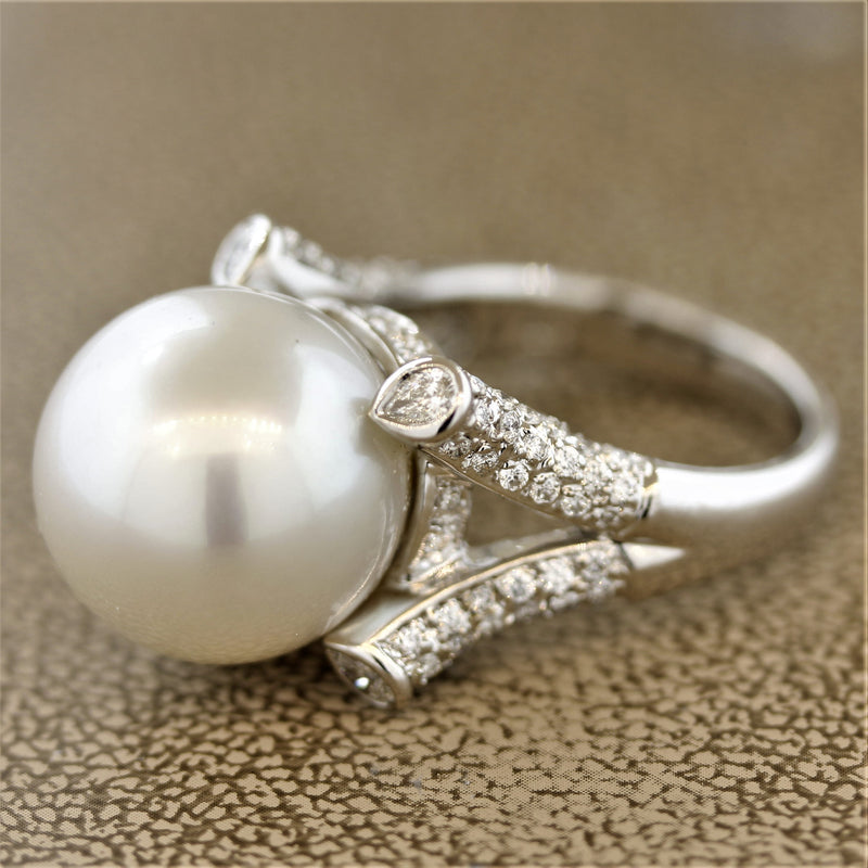 15MM South Sea Pearl Diamond Gold Cocktail Ring