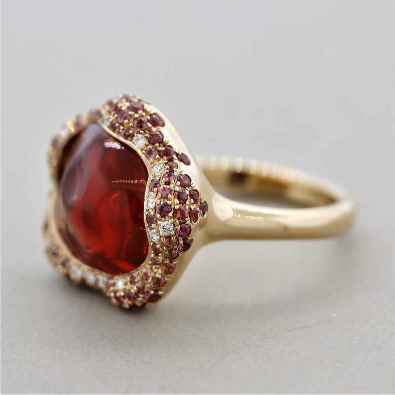 Gem Fire Opal Sapphire Diamond Gold Ring