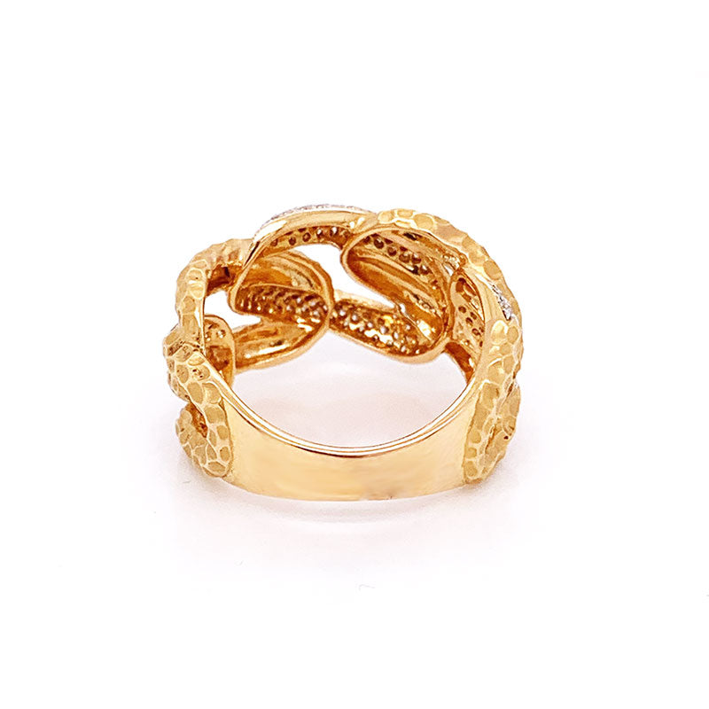 Modern Diamond Gold Link Ring-Band