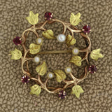 Antique Garnet Seed-Pearl Gold Pin-Brooch