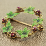 Enamel Mistletoe Ruby Gold Pin Brooch