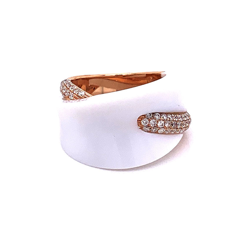 White Onyx Diamond Gold Ring