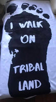 """I Walk On Tribal Land"" beach towel Black and White design with footprint"