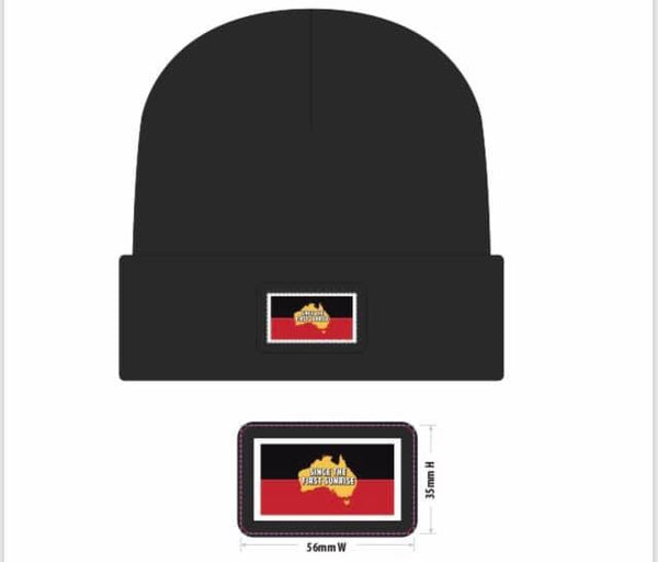 Since The First Sunrise Black Beanie with patch