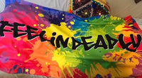 """Feelin Deadly"" towel  Brightly coloured, paint splash effect"