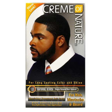 Creme of Nature Long Lasting Permanent Colour for Hair Moustache & Beard 1.0 Natural Black