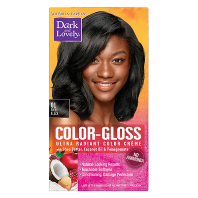Dark and Lovely 01 Color Gloss Rich Black Ultra Radiant Color Crème