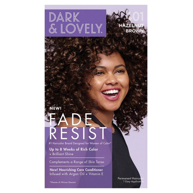 Dark and Lovely 401 Fade Resist Hazelnut Brown Rich Conditioning Color