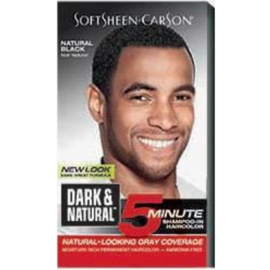 Dark and Natural 5 Minute Shampoo In Permanent Men's Hair Color Natural Black