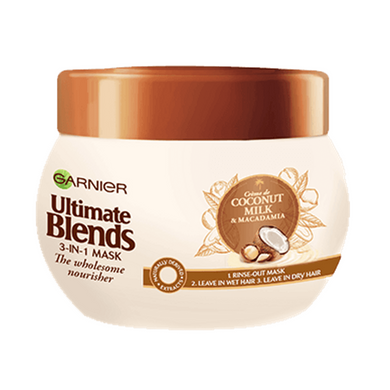 Garnier Ultimate Blends 3in1 Mask The Wholesome Nourisher Coconut Milk & Macadamia 300ml