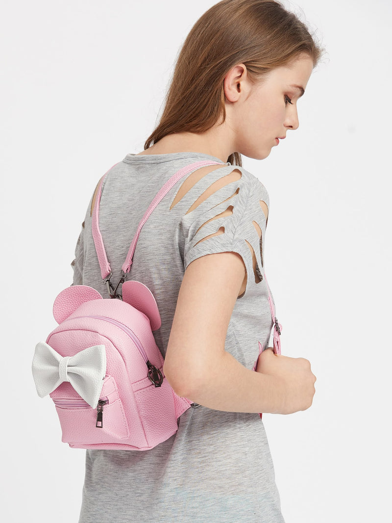 Pink Ear Shaped PU Backpack With Contrast Bow - FD