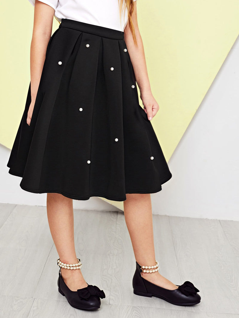Girls Pearl Embellished Box Pleated Skirt