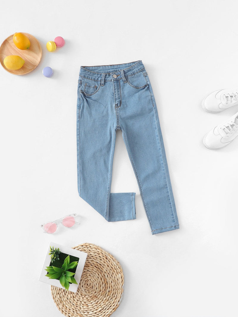 Girls Pocket Patched Button Up Skinny Jeans