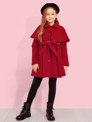 Girls Self Belted Cape Coat