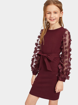 Girls Mesh With Appliques Belted Dress - FD