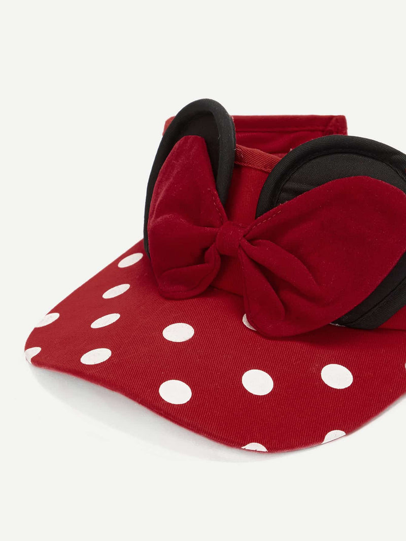 Girls Bow Decor Open Top Sun Hat