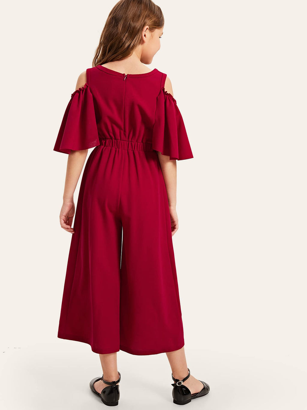 Girls Button Detail Cold Shoulder Bell Sleeve Jumpsuit - FD