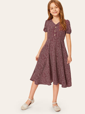 Girls Ditsy Floral Half Button Flare Dress