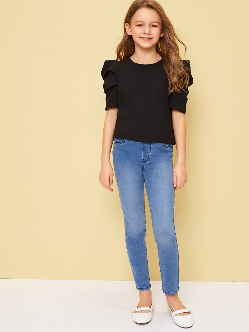 Girls Pleated Puff Sleeve Solid Top