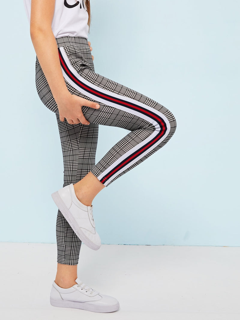 Girls Contrast Tape Side Glen Leggings