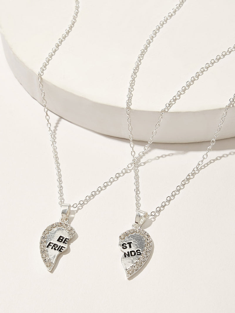 Girls Rhinestone Decor Half Heart Pendant Necklace 2pcs