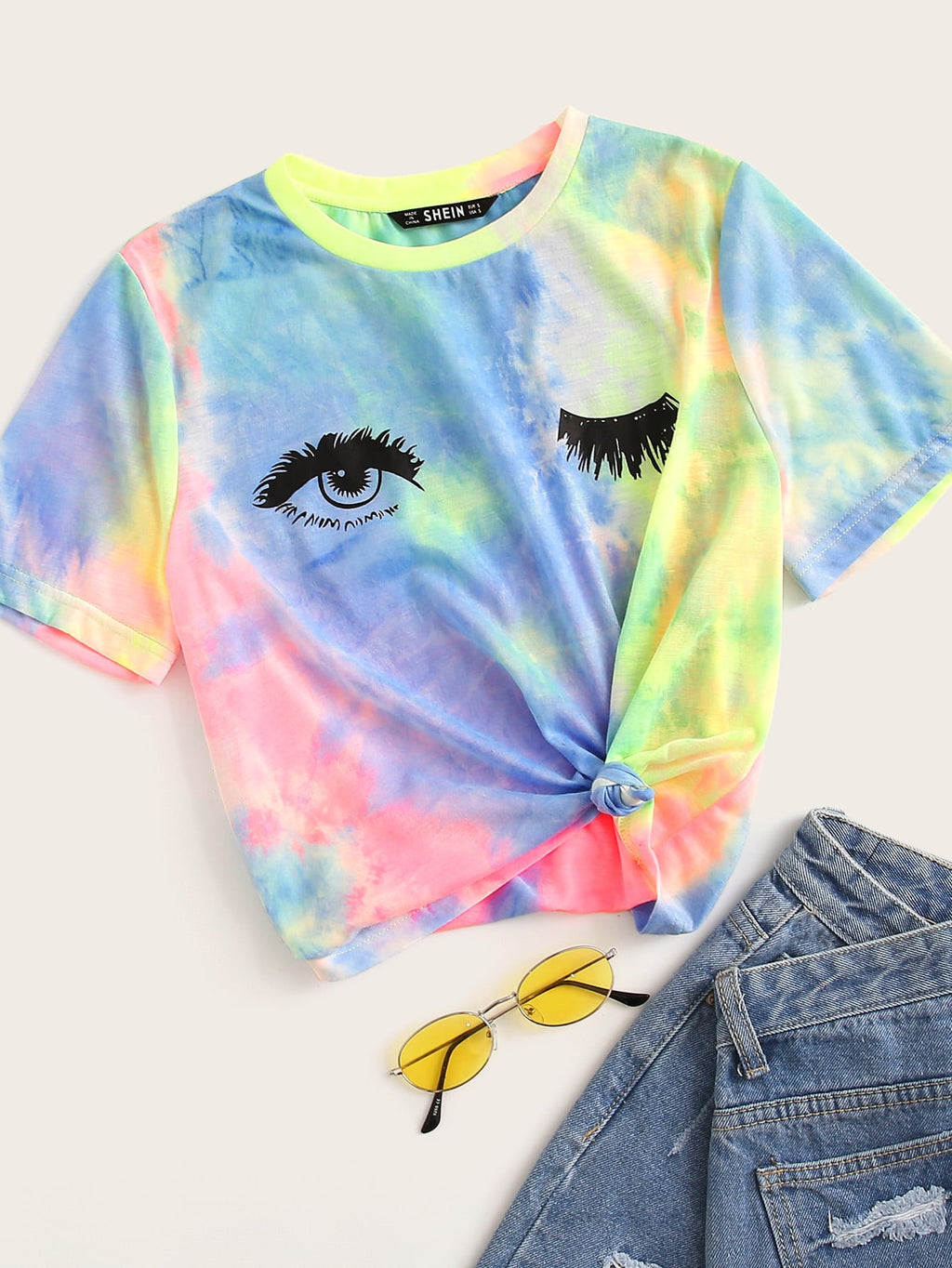 Tie-Dye Wash Eyelash Graphic Tee