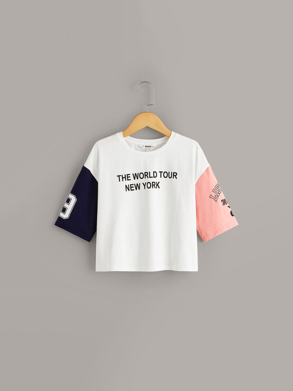 Girls Slogan Graphic Colorblock Tee