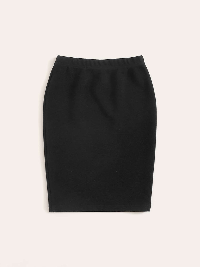 Girls Double Button Solid Skirt - FD