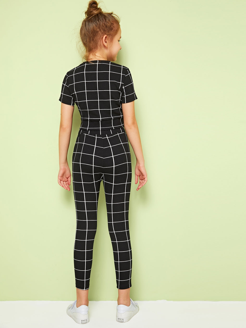 Girls Twist Front Grid Top & Leggings Set