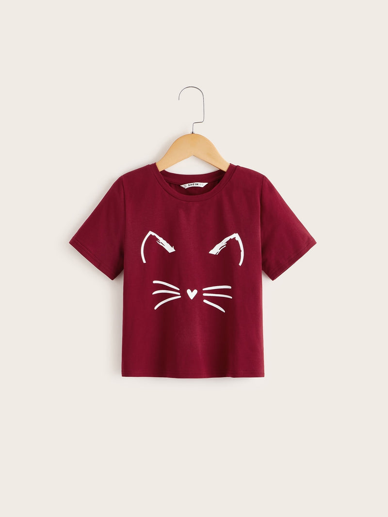 Girls Cartoon Graphic Short Sleeve Tee