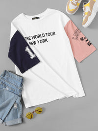 Plus Drop Shoulder Colorblock Slogan Graphic Tee
