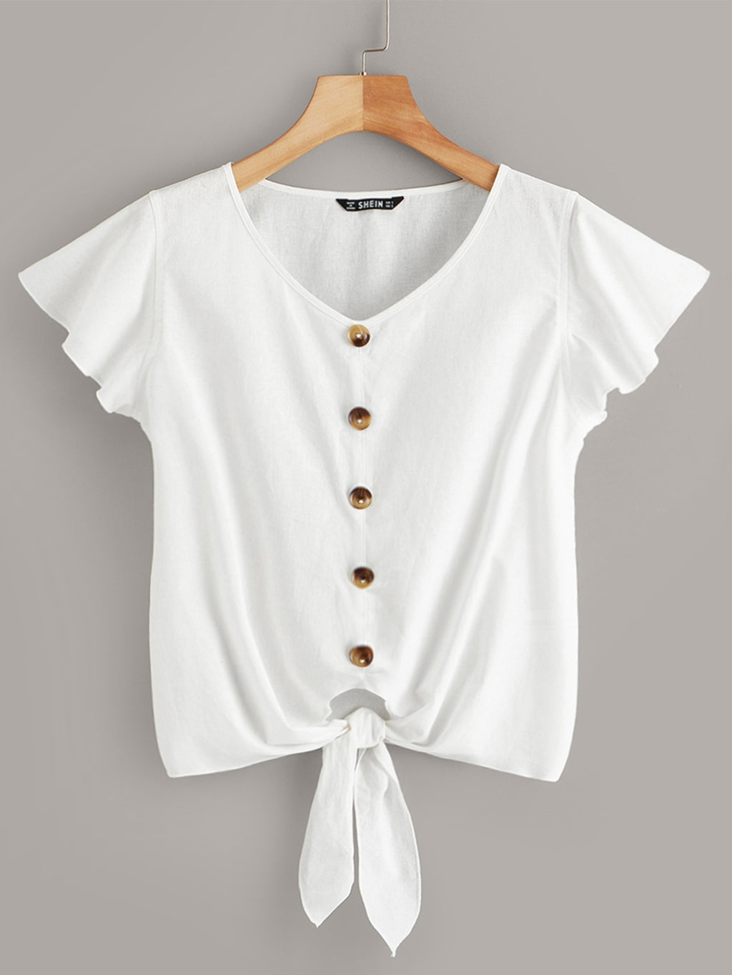Button Detail Tie Front Ruffle Armhole Top