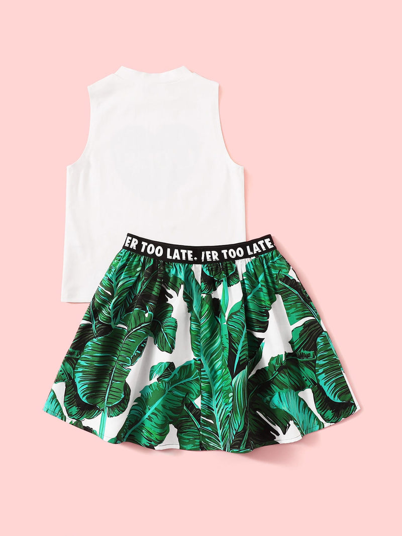 Girls Letter Graphic Top & Lettering Tape Tropical Print Skirt Set - FD
