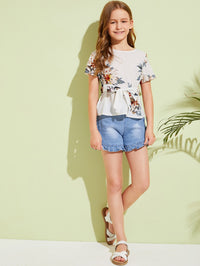 Girls Tie Front Floral Print Top