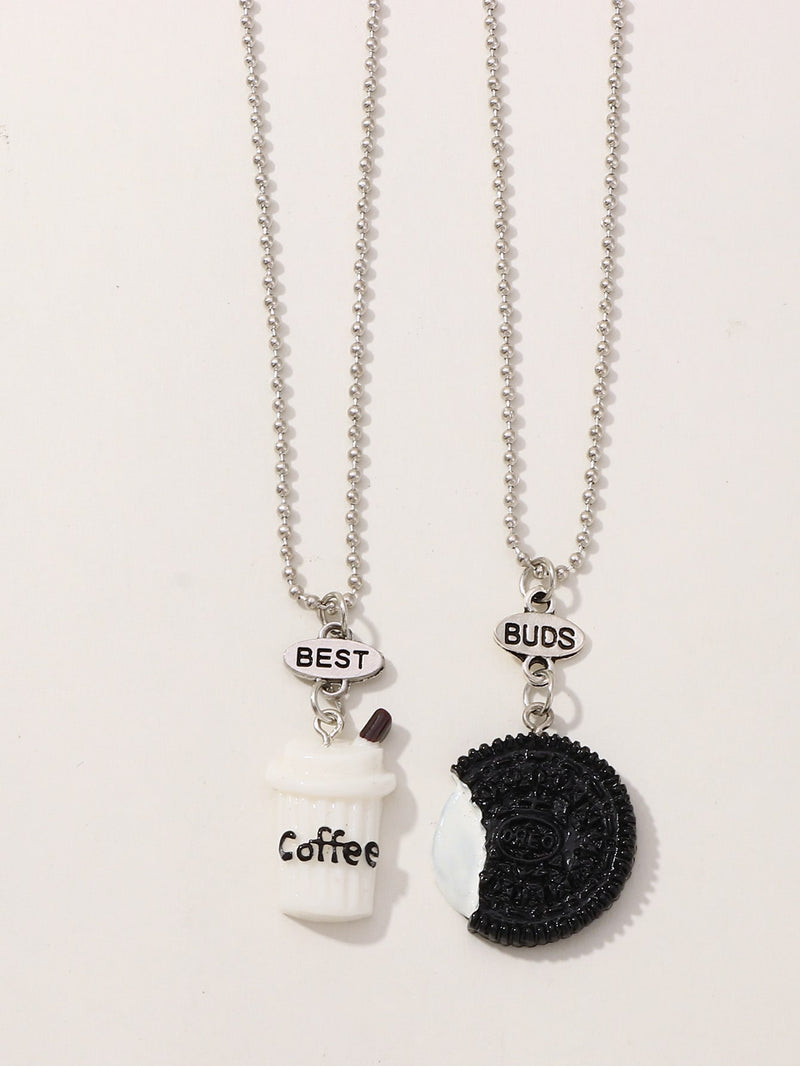 Girls Food Pendant Necklace Set 2pcs