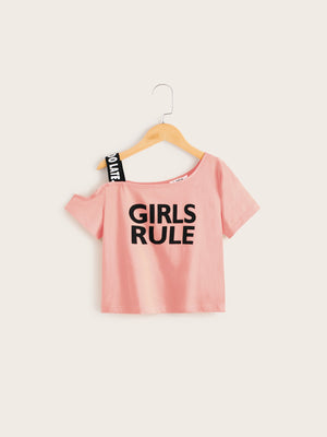 Girls Asymmetrical Neck Letter Tape Slogan Graphic Top - FD