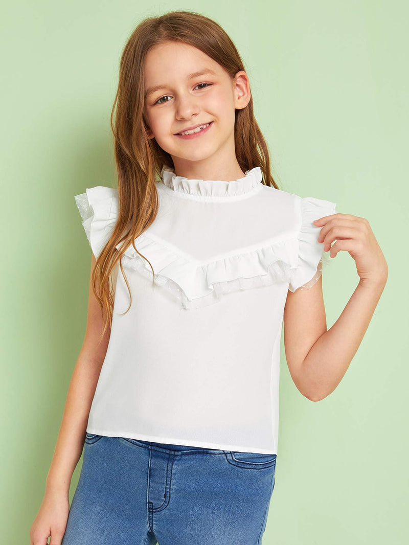 Girls Frill Neck Mesh Trim Top FD