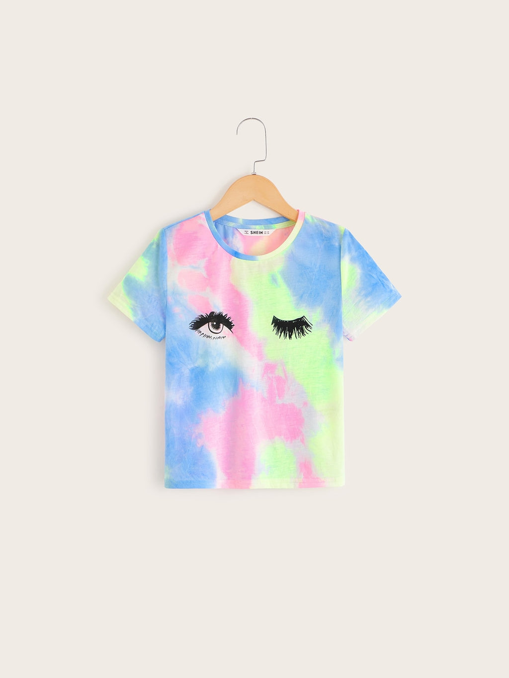 Girls Eyelash and Eye Print Tie Dye Tee