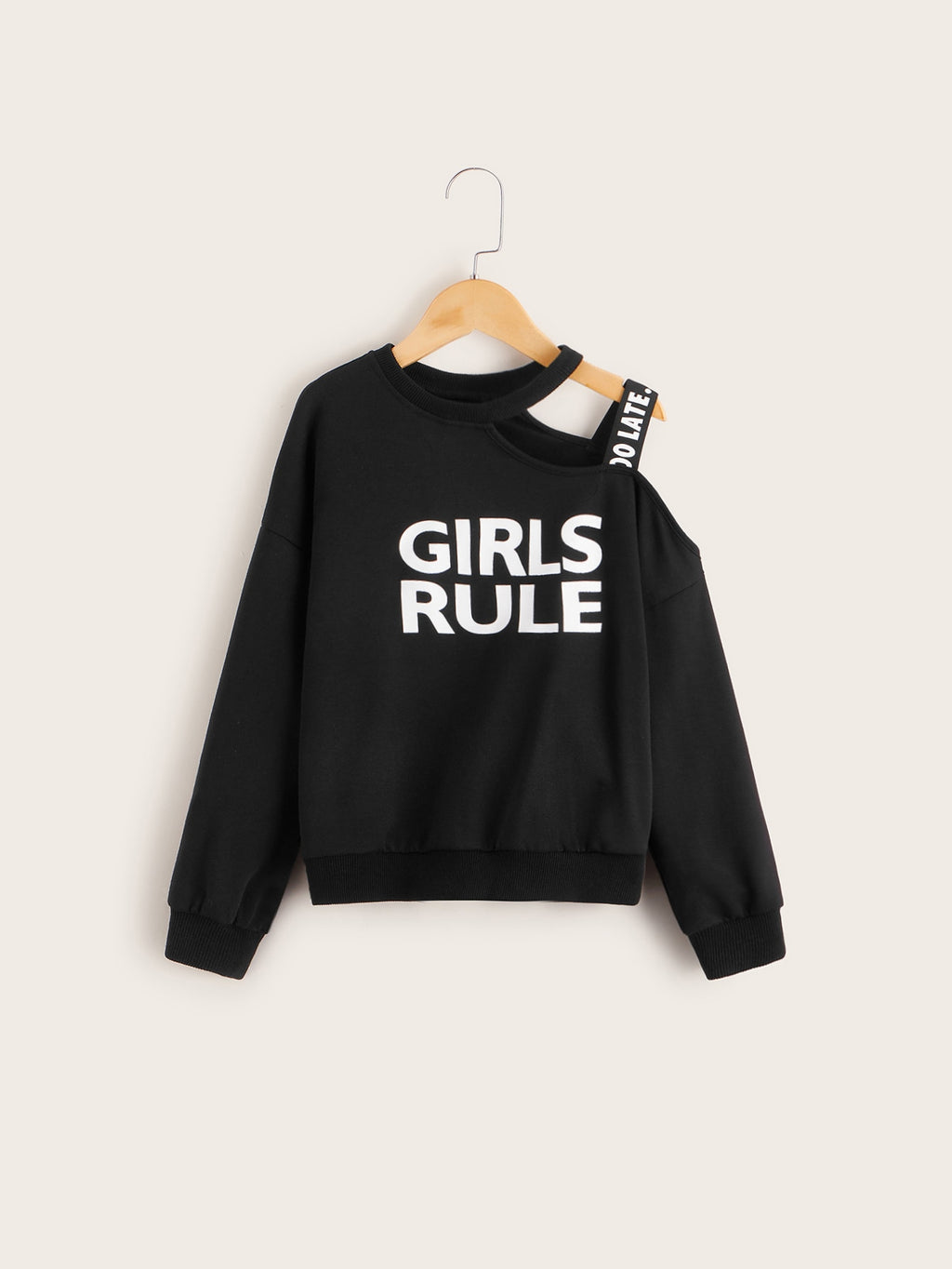 Girls Slogan Graphic Cold One Shoulder Pullover With Strap