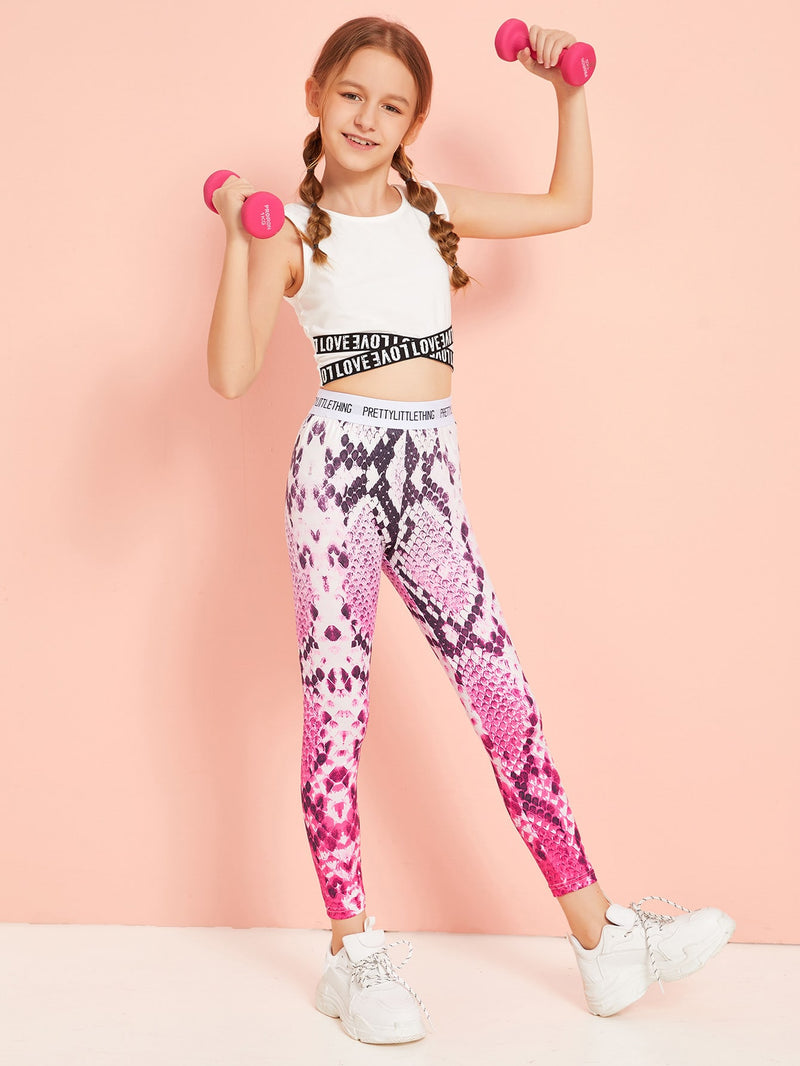 Girls Letter Tape Waist Snakeskin Leggings