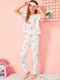 Girls Flamingo Print PJ Set With Eye Cover
