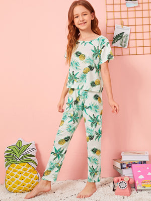 Girls Pineapple Print PJ Set With Eye Cover