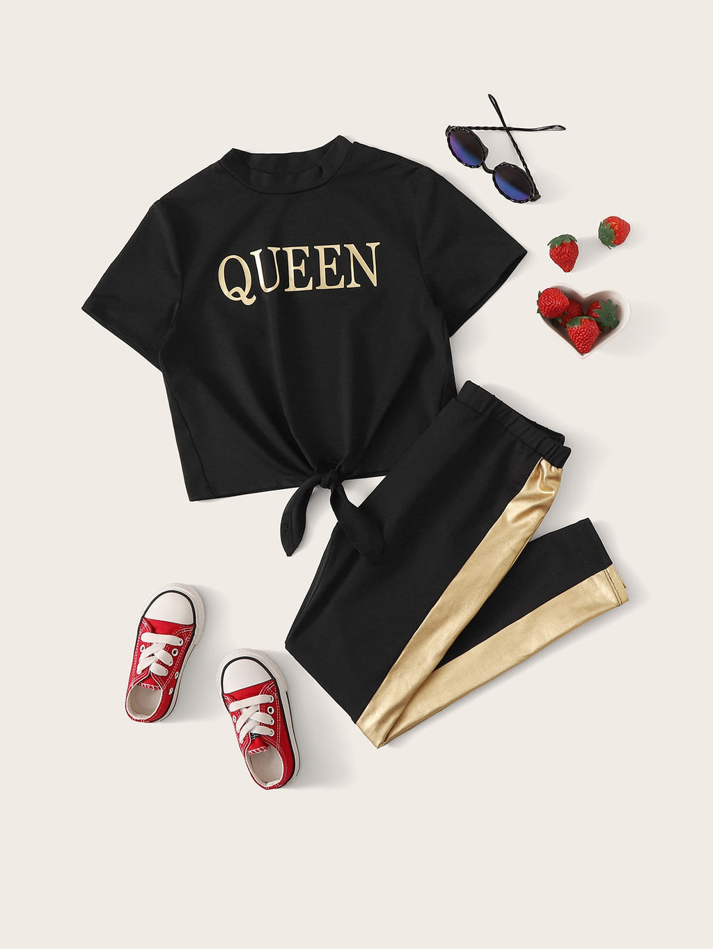 Girls Letter Knotted Tee & Contrast Sideseam Pants Set